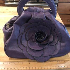 Leather Purple Rose Purse